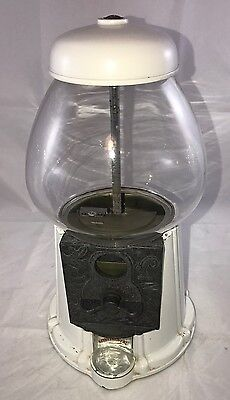"Vintage White Iron Gumball machine with glass globe 11"" Continental Squirrel"