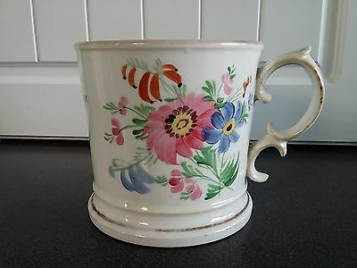 Gorgeous Huge Victorian 19th Century Hand Painted China Mug 'Remember Me'