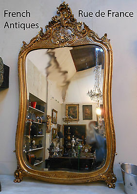 Large French Mirror - Antique French  Carved Oak Gilt Over Mantle Gilt Mirror