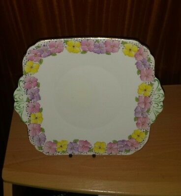 Foley (E. Brain & Co.) Floral Decorated 9.5 Inch Cake Plate.