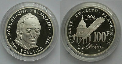 Piece Franc 100 F Voltaire 1994 Argent Be Fdc Silver Proof Mdp