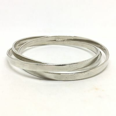 Great Quality Vintage C.1980 Triple Silver Solid Heavy Bangle Bracelet