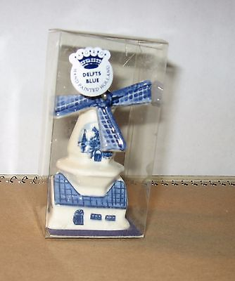 "Vintage Delft's Blue & White Porcelain Holland Windmill Figurine 3 "" TALL"