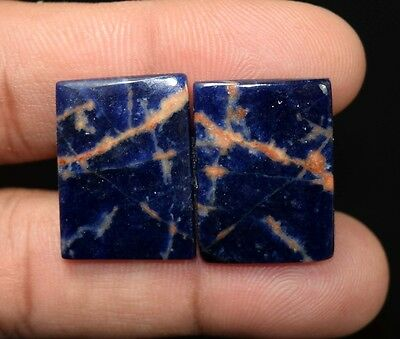 27.40  Cts. 100 % Natural  Pair Of  Multi Sodalite  Cushion  Cabs Loose  Gems