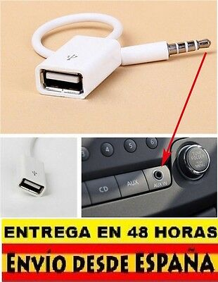 3.5mm Macho AUX Audio Plug Jack A USB 2.0 Hembra Cable Convertidor Blanco