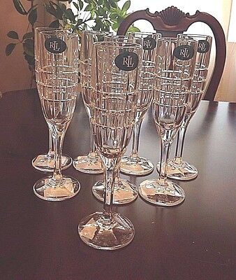 "RALPH LAUREN ""Cocktail Party"" Crystal Champagne/ Wine Glasses- Flutes-Set of 8"
