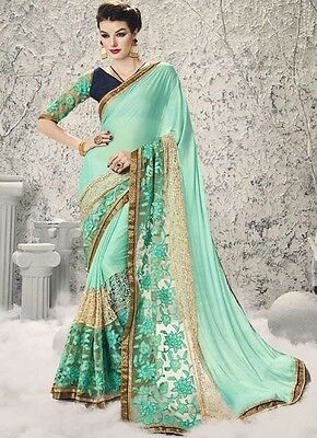 Latest Indian Designer Firozi Patch Worked Bollywood Inspired Party wear Sarees