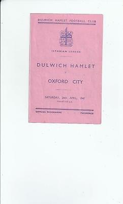 Dulwich Hamlet v Oxford City Football Programme 1946/47