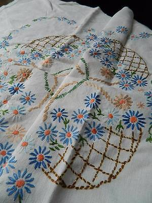 "Vintage hand embroidered Irish linen tablecloth - 42"" sq"