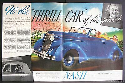 1937 Blue Nash LaFayette 400 Cabriolet Thrill Car of Year! Rumble Seat Print Ad