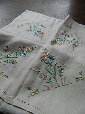"Vintage UNUSED embroidered Irish linen tablecloth.  34"" sq"
