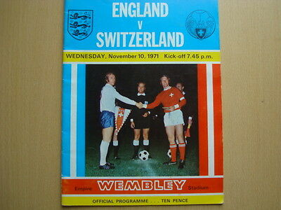 England V Switzerland Nov 1971
