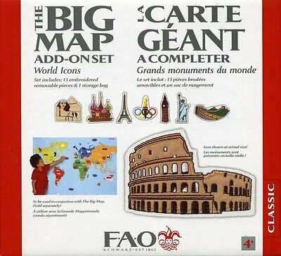 FAO Schwarz THE BIG MAP add-on WORLD ICONS 13 Embroidered Set & Storage Bag USA