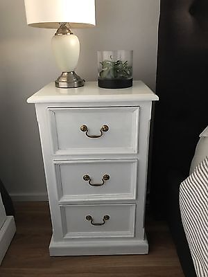 WHITE WOODEN BEDSIDE TABLE HAMPTONS STYLE $300 For 2