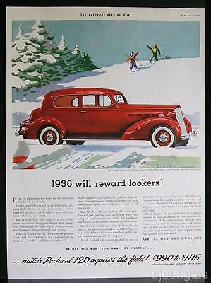 1936 Red Packard 120 Five Passenger Touring Coupe Snow Sledding Pine Trees Ad