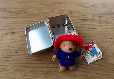 Paddington Bear plush soft toy in a small tin suitcase - RARE and COLLECTABLE
