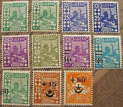 Algeria Issues of 1926 Set of 11 MNH Scott's 39 41-43 46 47 68-70 B3 & B10