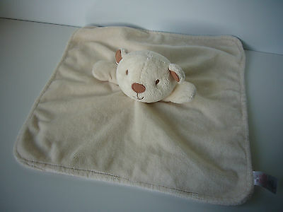 BHS cream ivory teddy bear soft toy blankie blanket baby comforter soother