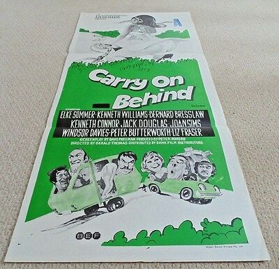 "Carry On Behind Original Cinema Daybill Movie Poster 1975 13"" X 30"" Rare"
