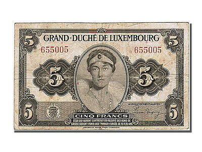 [#250803] Luxembourg, 5 Francs, 1944, KM #43a, EF(40-45), 655005