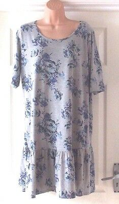 Ladies Pretty Grey and Blue Floral Tunic Top from George size 20
