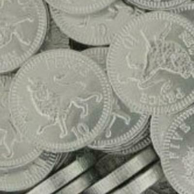 Milk Chocolate 10p Ten Pence Silver Foiled Covered Money Coins Sweets Qty 10-200