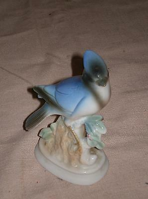 Vintage NORLEANS Shiny Porcelain Blue Bird Figurine Beautifully Hand Painted