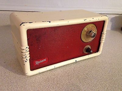 Rare Vintage 1950's Marconi Mantel Tube Radio 235 W/ Red Face And Ivory Case
