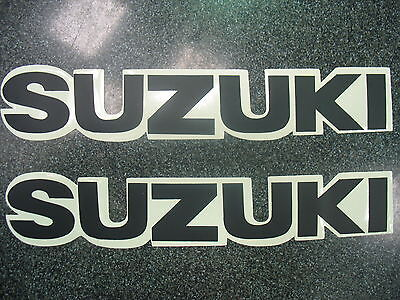 2 x GENUINE SUZUKI STICKERS BELLY PAN TANK FAIRING DECALS MATT BLACK & WHITE NEW