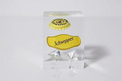 Schweppes Indian Tonic Cap And Brand Sticker In Clear Casting Resin Collector