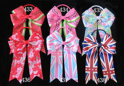"""50 BLESSING Good Girl Hair Accessories Long Tail 4.5"""" Cheer Leader Bow Elastic"""