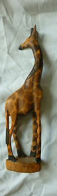 Vintage Hand Carved Giraffe looking back 12 inches high Africa Beautiful
