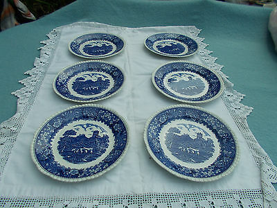 """6 Adams English scenic blue and white plates 7 1/2"""""""