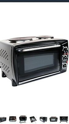 Oypla 26 Litre Electrical Mini Compact Oven Kitchen Mate c/w 2 Hot Plates&Grill