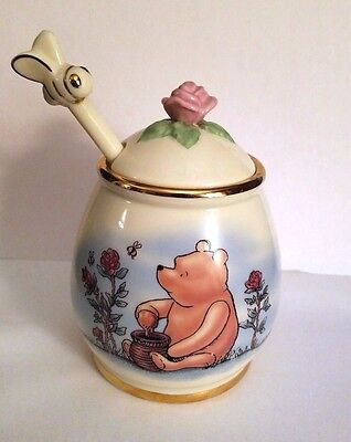 Lenox Fine China Disney Classic Winnie the Pooh Honey Pot Jar and Drizzler 16 oz