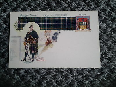 Old PC Clan MACNEIL Tartan Badge Slogan and Coat of Arms
