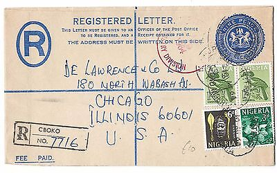 Nigeria 1961 9d Registered cover uprated 2/9d H&G9 CBOKO, Police station - Illin