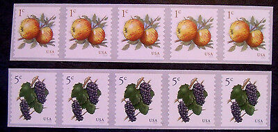 #5037 & 5038 Mint US Coil Stamp strips of 5 - 1c apple and 5c grape