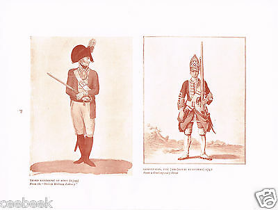 Third Regiment Of Foot & Gentleman 7th Royal Fusiliers Antique Military Print