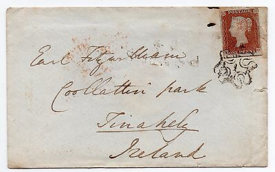 1843 Envelope to Earl Fitzwilliam Tinahely Ireland-Number 1 in cross (MG) 4 marg