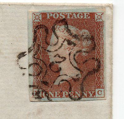 1843 Entire sg7 1d red black plate 9 with No 2 in cross ( P C ) large margin.