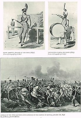 Charge Of The 16th Aliwal 1846, Royal Marines 1909 Antique Military Print