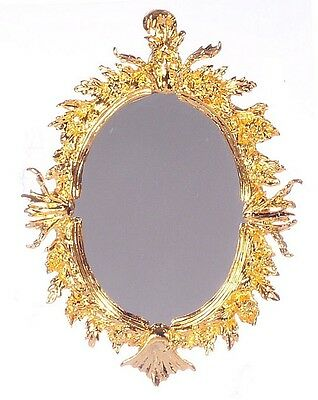 """24K Gold Plated Antique Oval Mirror Dollhouse Miniature 2¾""""T x 21/8""""W 1:12 Scale"""