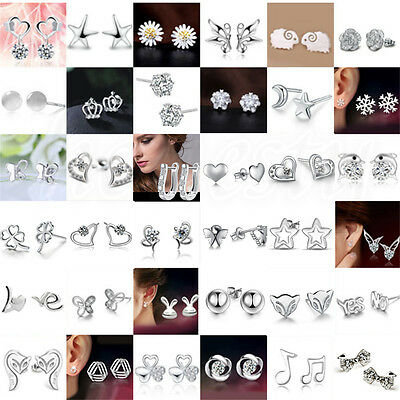 Fashion 1 Pair Elegant Women 925 Silver Crystal Rhinestone Ear Stud Earrings
