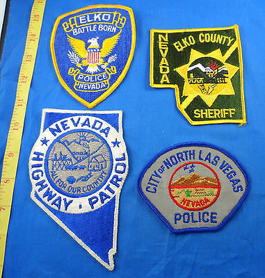 Old Nevada Elko Sheriff + Police, North Las Vegas Police Cloth Patch Nv Lot Of 4