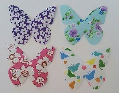 Set of 4 butterfly fabric iron on motifs/patches embellishments