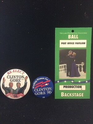 Two Clinton Gore '96 Pin Back Campaign Buttons Plus