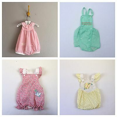 Lot Of 4 Vintage Baby Rompers Sunsuits