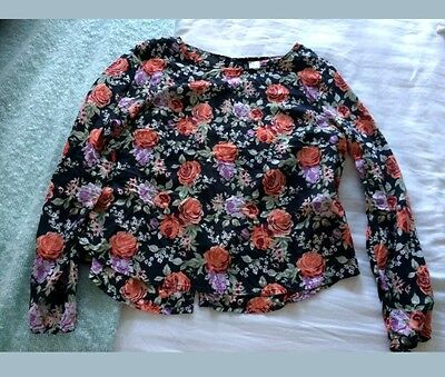 New Look Blouse floral summer black buttons Size 10 lightweight flowy