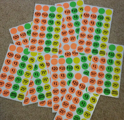 GARAGE SALE STICKERS Labels NEON PRICE TAGS LABELS RUMMAGE SALE 420 Labels ~ NIP